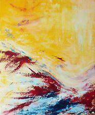 """TABLEAU ABSTRAIT ORIGINAL, PEINTURE SIGNÉE H.Zen, paysage """"EN PENTE DOUCE"""" 50x61"""