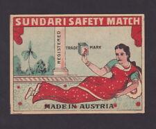 Ancienne  étiquette Allumettes de paquet Autriche  BN25489 Sundari Femme Inde