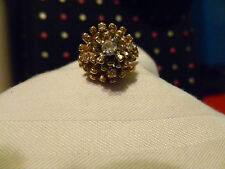 Vintage Antique Yellow Gold 14k Diamond Cluster Women's Ring Size 7-8
