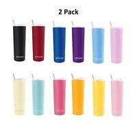 Ezprogear 2 Pack 20 oz Stainless Steel Slim Skinny Tumbler 4 Straws, Brush, Lids