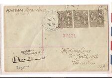 British Virgin Islands 1930 Roadtown registered cover to USA (bao)