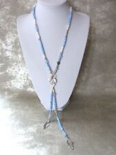 free people long Cornflower Blue Crystal hand beaded necklace with feathers
