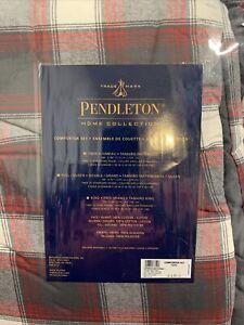 NIP Pendleton Home Collection Red Gray Cream Plaid Twin Comforter Set W/ 1 Sham