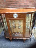 Vintage Art Deco Walnut Display Cabinet With Smiths Clock