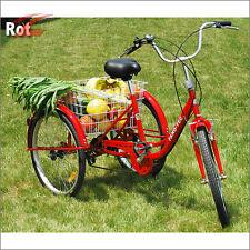 Für Erwachsene Dreirad Lastenfahrrad 6G Seniorenrad Shopping Fahrrad 24 Zoll Rot