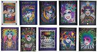 """Lot of 10 Original Mardi Gras Posters Andrea Mistretta Magic NOLA 1988-1997 36"""""""