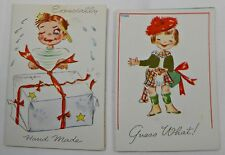 #16 VTG 2 CHRISTMAS CARD GIFT TAGS WALLACE BROWN CUTE KIDS SCOTTISH PLAID KILT