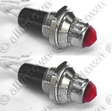 2x Red Pilot Dash Indicator Warning Lights 12V Vintage Classic Hot Rod Light