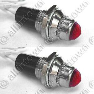 Two (2) Red Pilot Dash Indicator Warning Lights 12V Vintage Classic Light