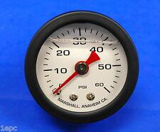 "Marshall Gauge 0-60 PSI Fuel Oil Gas Pressure White Black Casing 1.5"" Liquid"