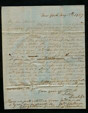 1837 3pg TO American Painter Thomas Cole from Sara Cole re: Exhibition Criticism