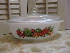 Glasbake Vegetable Medley Design Jeanette J235 1 Qt Oval Ovenware Baking Dish