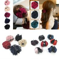 Korean Womens Double Rose Flower Bow Jaw Clip Barrette Hair Claw Accessories