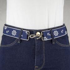 Sailing Nautical Anchor Navy Blue Elastic Snake Belt Flat Buckle Handmade in UK