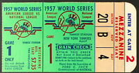 1957 World Series Game 1 Ticket Yankee Stadium New York vs Milwaukee Braves MLB