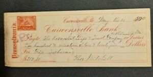 1900 CURWENSVILLE PA BANK $219.25 CHECK W/REVENUE STAMP!-d4320unx