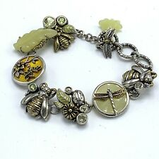 """Dream 925 Bumble Bee Charm Bracelet 8"""" Dragonfly Toggle Clasp"""
