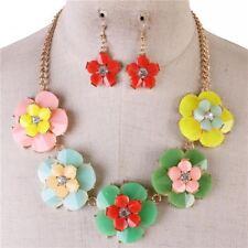 Mulit Color Flower Floral Necklace earring Set