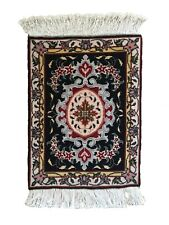 Small Finely Handwoven Oriental Wool and Silk Rug
