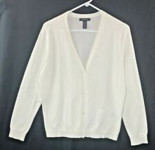 Lands End Womens M Petite Long Sleeve V-Neck White Cardigan Sweater Button Front