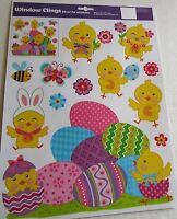 EASTER Window Cling  BABY CHICKS AND COLORFUL EGGS