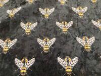 Designer Velvet Bees  Black/Gold  Printed 140cm wide Curtain/Upholstery Fabric