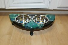 Raised Dog-Cat Feeding Table with 1pt Bowls - Green & Black