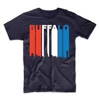 Vintage Retro 1970's Style Red White And Blue Buffalo New York Skyline T-Shirt