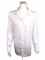 Side Stitch Women's Regular Button Front Tunic Top with Pocket White Large Size
