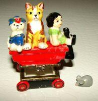 Vintage Little Red Wagon Box Girl, Dog,Cat,Mouse  Porcelain Christmas Ornament
