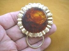 (E-884) tortoise celluloid on round brass Eyeglass pin pendant ID badge holder