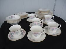 vintage queen anne dinner tea set  for 6 pink & blue h 97 2 bone china England