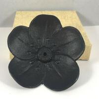 "Japanese 3""D Black Cast Iron Sakura Incense Cone Stick Holder Bowl Made in Japan"