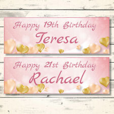 2 PERSONALISED ROSE GOLD BIRTHDAY BANNERS - DESIGN 1 GOLD HEARTS (ANY NAME/AGE)