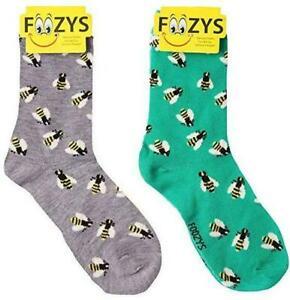 Buzzy Bees Honey Insect Queen Honeybee Animal 2 Pairs Foozys Women's Socks