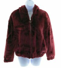 Outer Edge Womens Burgundy Faux Fur Hooded Jacket Winter Casual Size Medium