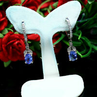 NATURAL 5 X 7 mm. OVAL BLUE TANZANITE & WHITE CZ EARRINGS 925 STERLING SILVER
