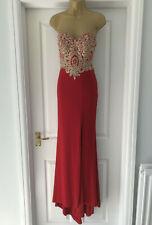 DIVA - LONDON • LONG SLIT PROM EVENING DRESS • RED • BEADED BODICE • SIZE UK 6