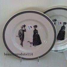 Victorian English Pottery Skeleton Lady Gentleman Halloween Dinner Plates Set 2