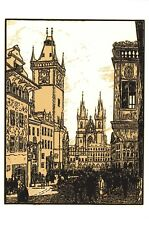 Art Postcard, Old Town Square, Prague, 1927, Czech Republic, Czechoslovakia 44i