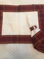 "Set Of 4 Williams Sonoma Plaid 24"" Dinner NAPKINS PLACEMATS RINGS"