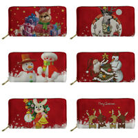 Red Christmas Wallet Women Fashion Clutch Zipper Card Holder Wallets Purse Gift