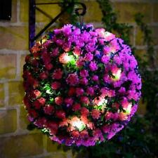 Colorful LED Solar Powered Topiary Ball Light Hanging Lamp Outdoor Garden Decor