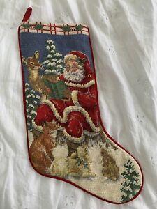 """NEEDLEPOINT Christmas STOCKING Santa & Forest Animals 17"""""""