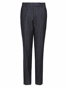 M & S BEST OF BRITISH COLLECTION PURE NEW WOOL PINSTRIPED SLIM LEG TROUSERS