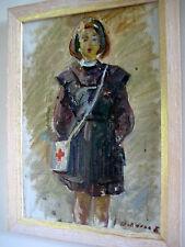 ANTIQUE RUSSIAN SOVIET IMPRESSIONISM OIL PAINTING GIRL PORTRAIT NURSE SHOLOKHOV