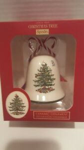 Spode Christmas Tree Candy Cane Bell Ceramic Ornament New in Box
