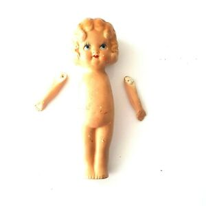 Germany Vintage Ceramic Bisque Doll Parts Head Body Arms Blue Eye Girl Eyelashes