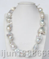 natural 31mm white baroque Reborn Keshi pearls necklace