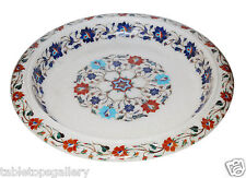 White Marble Dry Fruit Bowl Real Inlay Pietradure Mosaic Table Decor Gifts H1352